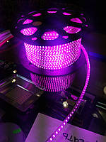Светодиодная лента 220V SMD 3528 120 LED IP67 Розовая (СТАНДАРТ)