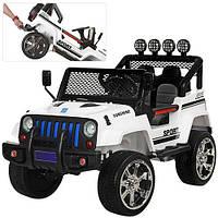 Детский электромобиль Джип M 3237 EBLR-1, 4 мотора,мягкие колеса и кожаное сиденье