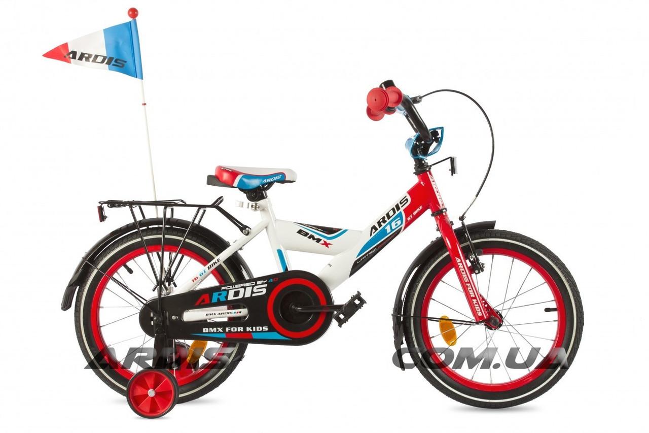 """Детский велосипед ARDIS GT BIKE 16""""  Белый/Красный/Синий"""