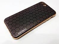 Чехол силиконовый с рисунком Remax соты с золотой окантовкой для iPhone 5/5s/5se