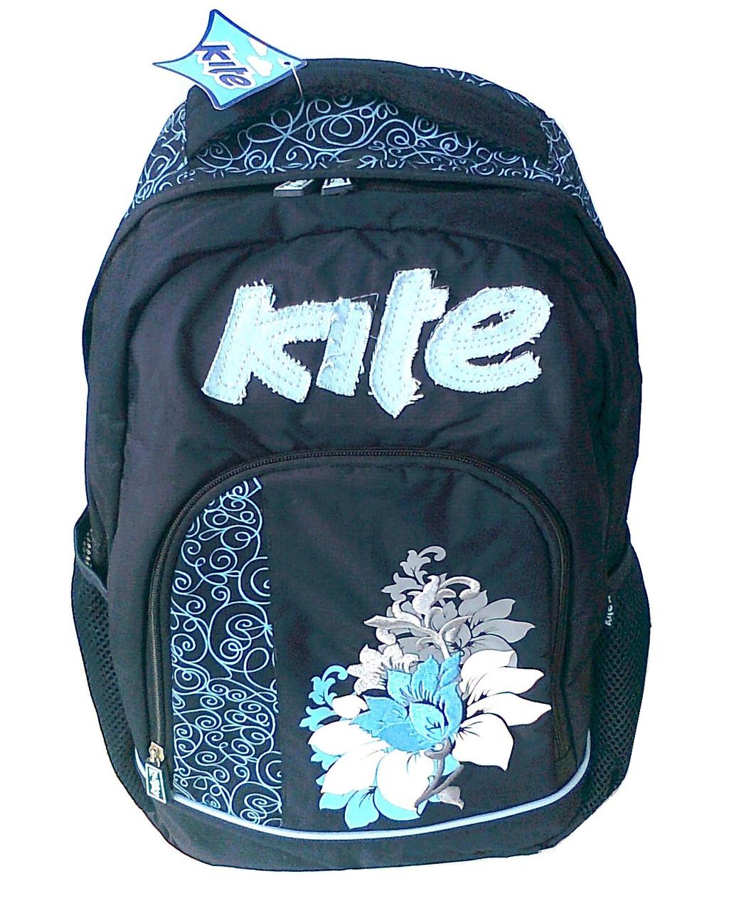 Ранец школьный К-510 тёмно-синий цветок