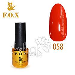 Гель-лак Fox №058, 6 мл (ярко-красный)