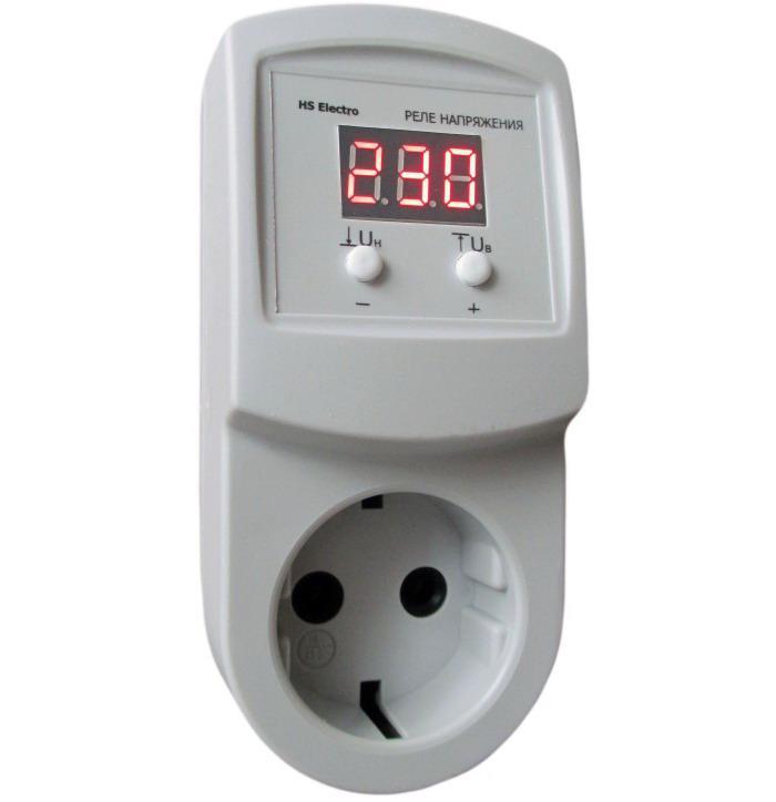 HS-Electro УКН-10р - реле контролю напруги в розетку, відсікач для холодильника, АВР бар'єр