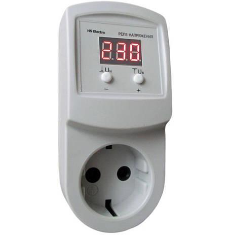 HS-Electro УКН-10р - реле контролю напруги в розетку, відсікач для холодильника, АВР бар'єр, фото 2
