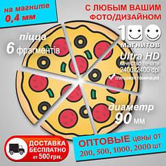 """Изготовление магнитов. Виниловый магнит """"Круг-пицца"""". Диаметр 90 мм"""