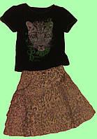 Летний детский костюм - Футболка черная и юбка в леопардовый принт, р.98, 104