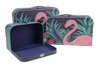 Набор подарочных коробок Фламинго, синие, чемоданчик 3 шт