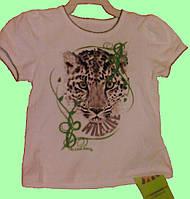 Летний детский костюм - Футболка белая и юбка в леопардовый принт, р. 98 см