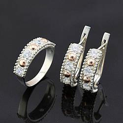 Серебряный набор с золотыми пластинами, кольцо размер 19 + серьги 21*6 мм
