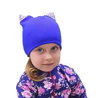 Детские шапочки весна осень 48 50 синий черный для девочки