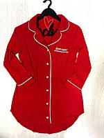 Модная одежда для дома ТМ Exclusive, красное платье-рубашка из вискозы