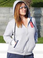 Теплый зимний спортивный костюм женский с капюшоном брюки прямые батальный