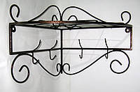 Вешалка кованая настенная угловая 36х36 см, антик медь