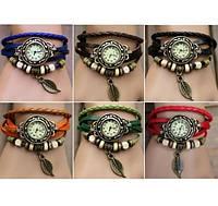 Винтажные женские часы-браслет на кожаном ремешке   - 5000615 - винтажные часы наручные, кожаный браслет часы, стильные часы с листочком, женские