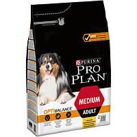 Purina Pro  Plan Dog Medium Adult с комплексом Optihealth  3кг - корм для собак средних пород c курицей