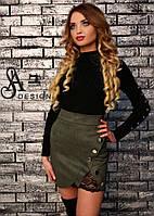 Юбка модная из замши с завышенной талией и кружевом мини разные цвета Umil96, фото 1