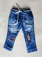 """Детские джинсы """"Кеды"""" на резинке на мальчика р. 6-12-18 мес"""