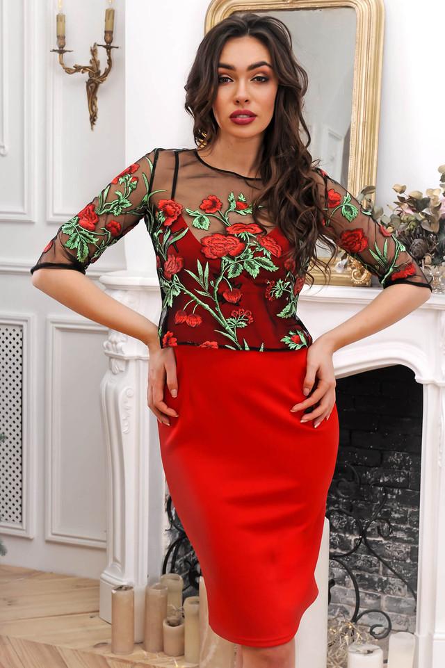 3f331d0bd7291e1 Комплект - платье и кофточка с цветами на сетке, Модель без застежек,  изделие можно носить как с кофточкой, так и отдельно. Платье: длина изделия  по спинке ...