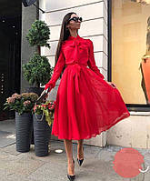 Платье шифоновое с бантом красное