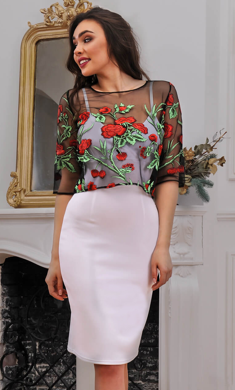 Коктейльное платье с кофтой из сетке с цветами 90275/1, фото 1