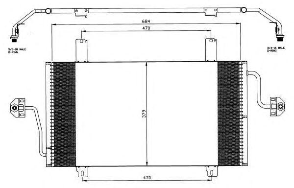 Радиатор кондиционера,  2.5D (684х379х16)