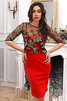 Коктейльное платье с кофтой из сетки с цветами 90275/2, фото 1