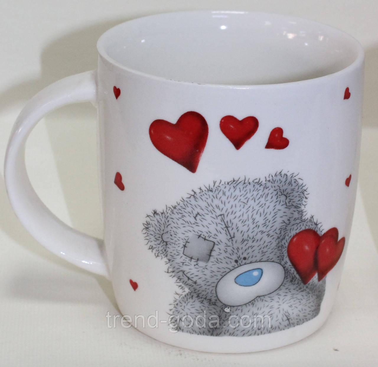 Кружка керамическая белая, сердечки и мишка Teddy, 200 мл