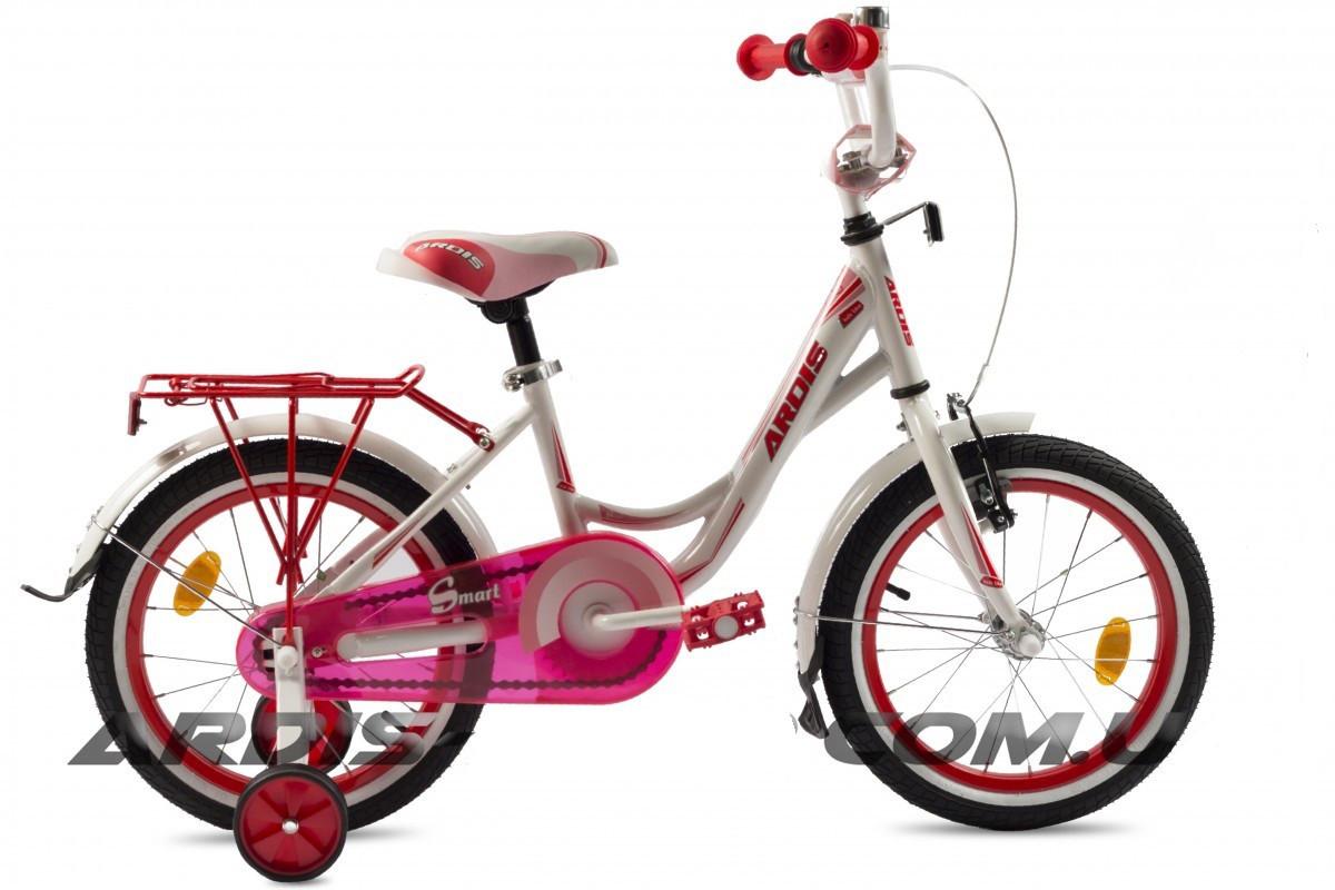 """Детский велосипед Ardis SMART R16"""" с багажником (Бело-розовый)"""