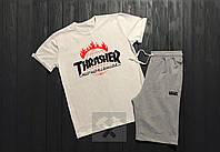 Летний спортивный костюм, комплект Thrasher X Vans (белый + серый), Реплика