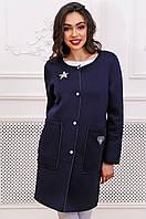 Кардиган-пальто из неопрена с нашивками 90276