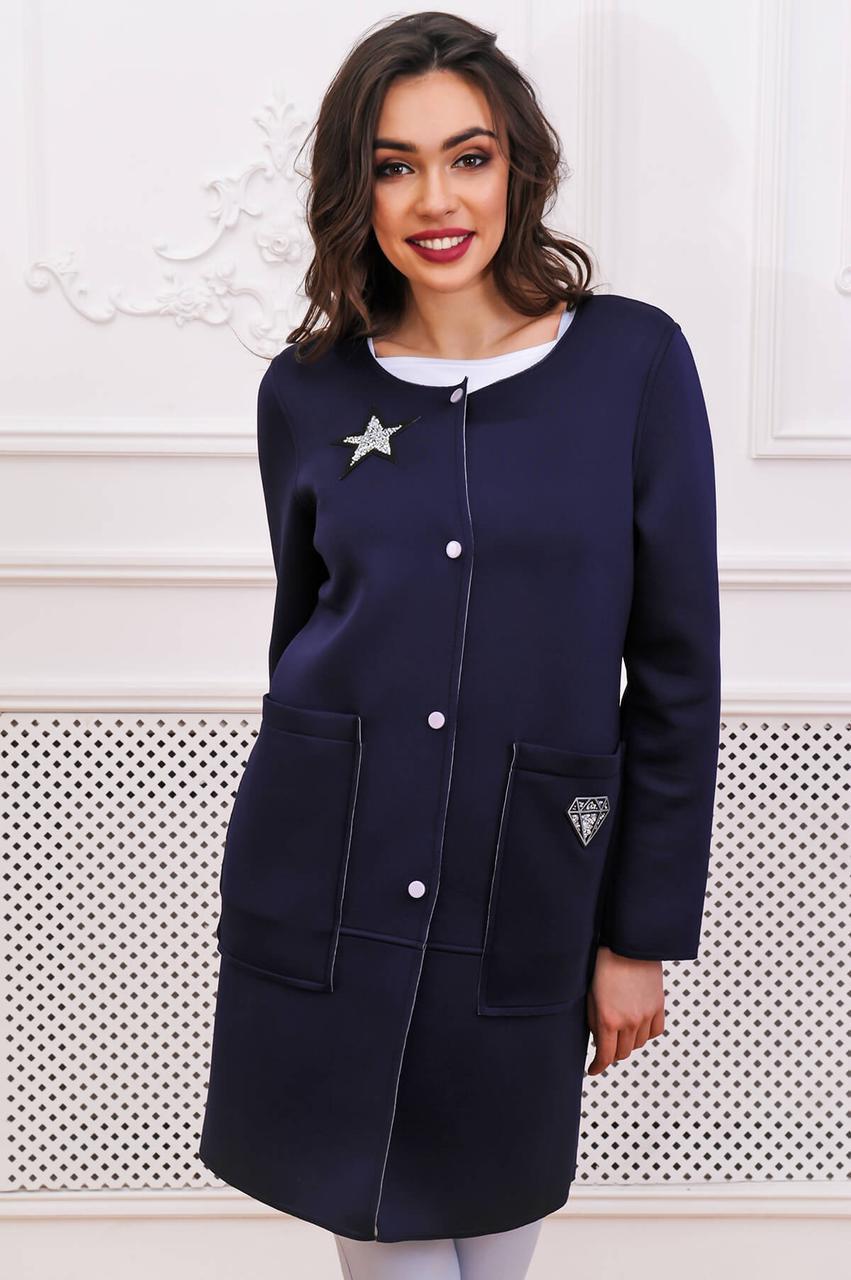 Кардиган-пальто из неопрена с нашивками 90276, фото 1