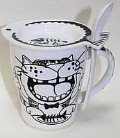 Кружка керамическая с крышкой и ложкой, довольный Кот и рыбка, 200 мл, фото 1