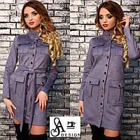 Платье стильное на кнопках по всей длине с поясом мини замш на дайвинге 5 цветов SMmil2128