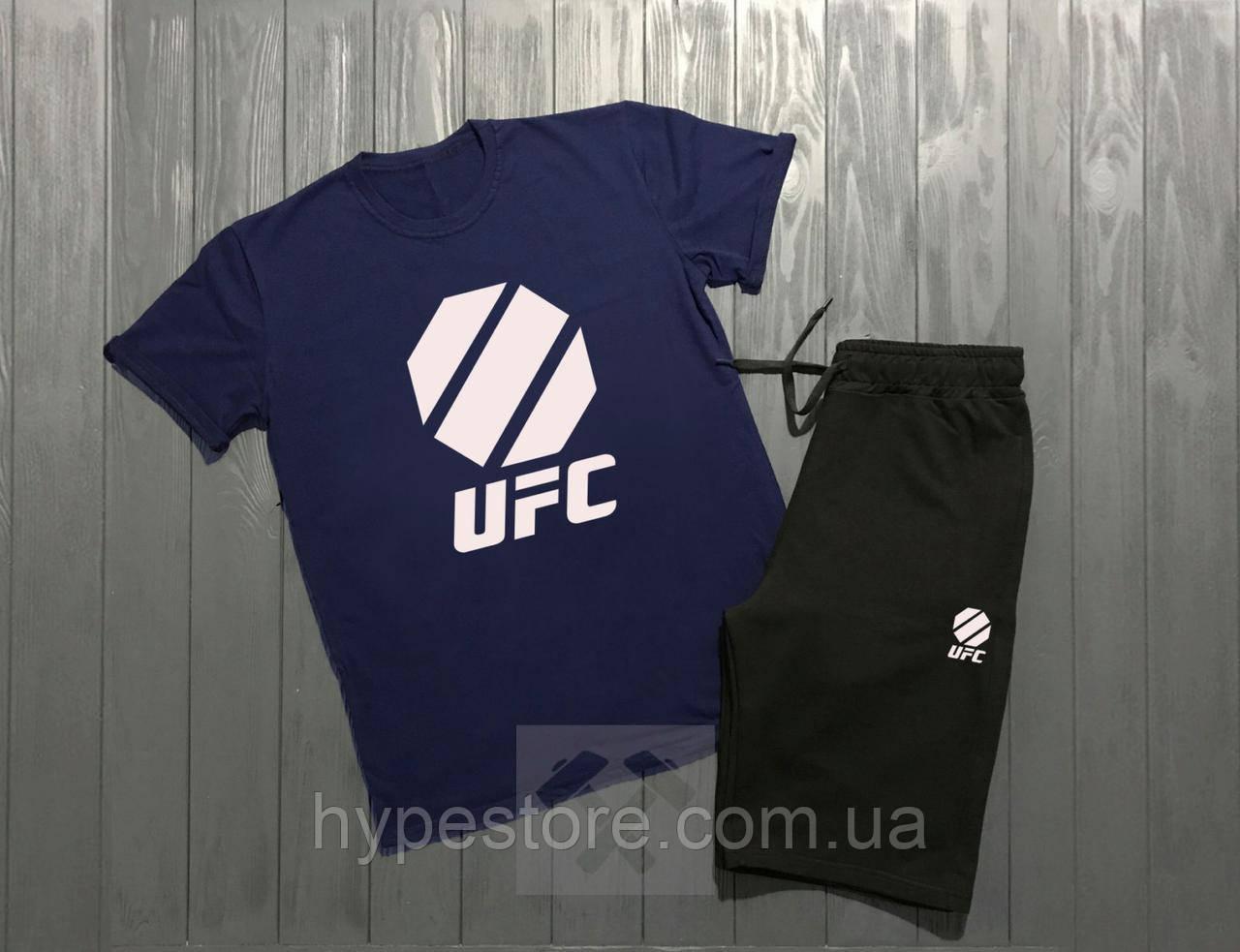Летний спортивный костюм, комплект UFC (темно-синий + черный), Реплика