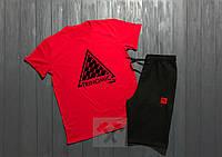 Летний спортивный костюм, комплект Puma Trinomic (красный + черный), Реплика