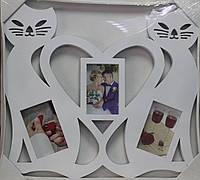 Фото-коллаж Сердце и два кота, 50 см х 55 см, цвет белый