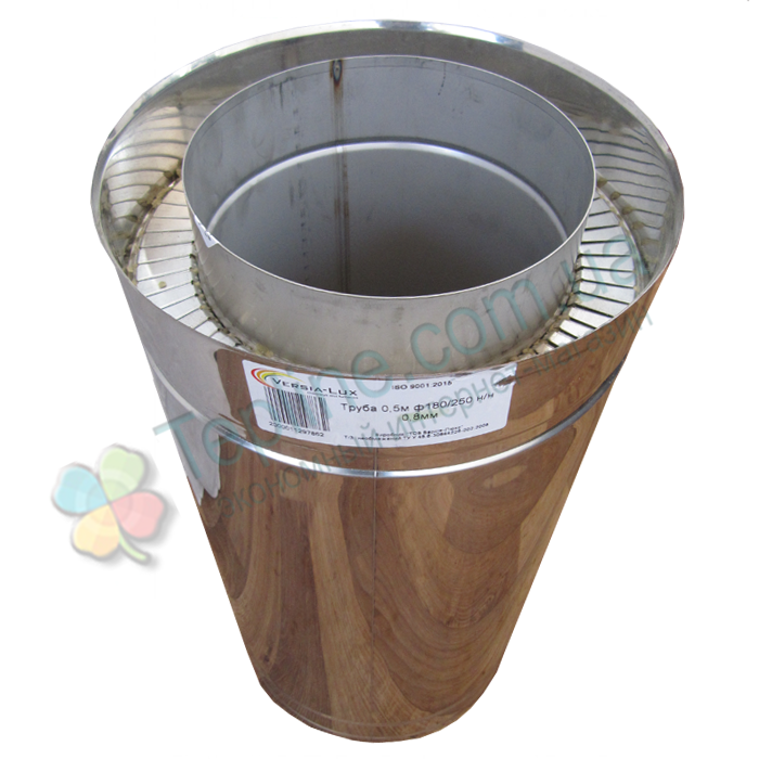 Труба дымоходная сэндвич d 220 мм; 0,8 мм; AISI 304; 50 см; нержавейка/нержавейка - «Версия Люкс»
