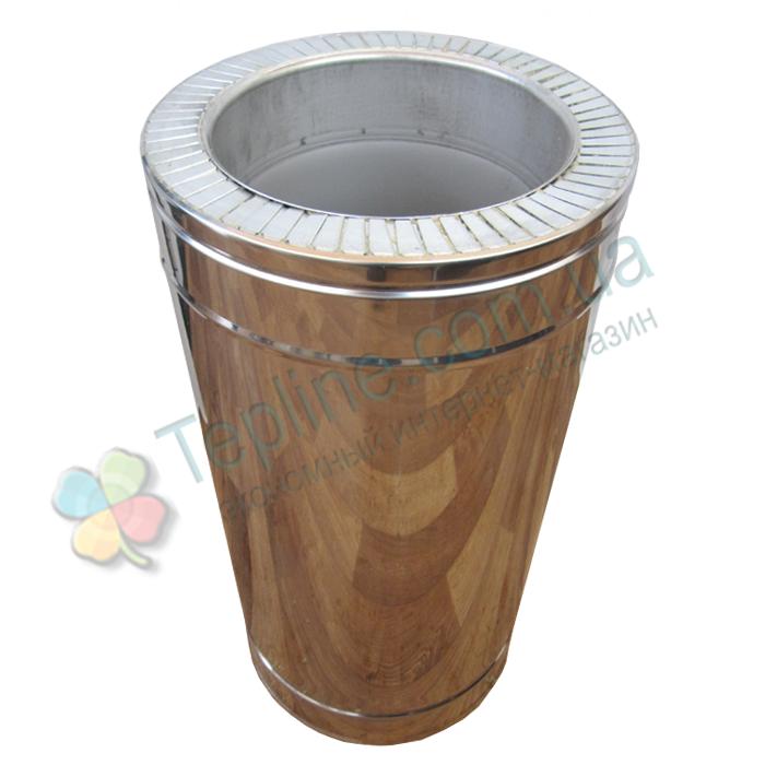 Труба дымоходная сэндвич d 160 мм; 1 мм; AISI 304; 50 см; нержавейка/нержавейка - «Версия Люкс»