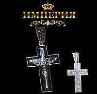 Крест мужской прямой серебряный с эмалью
