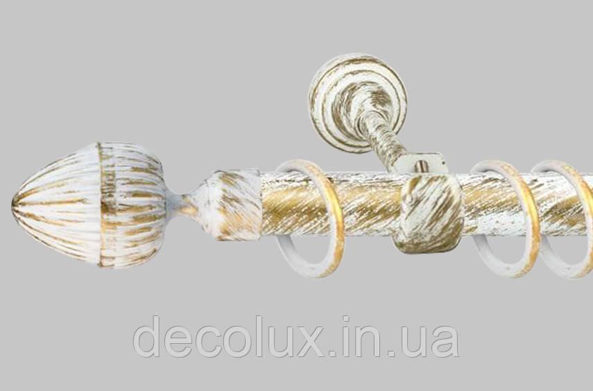 Карниз для штор однорядный металлический 25 мм, Одеон  (комплект) Белое Золото