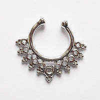 Обманка для пирсинга септума носа. Ажурное серебристое кольцо. Ювелирный сплав.