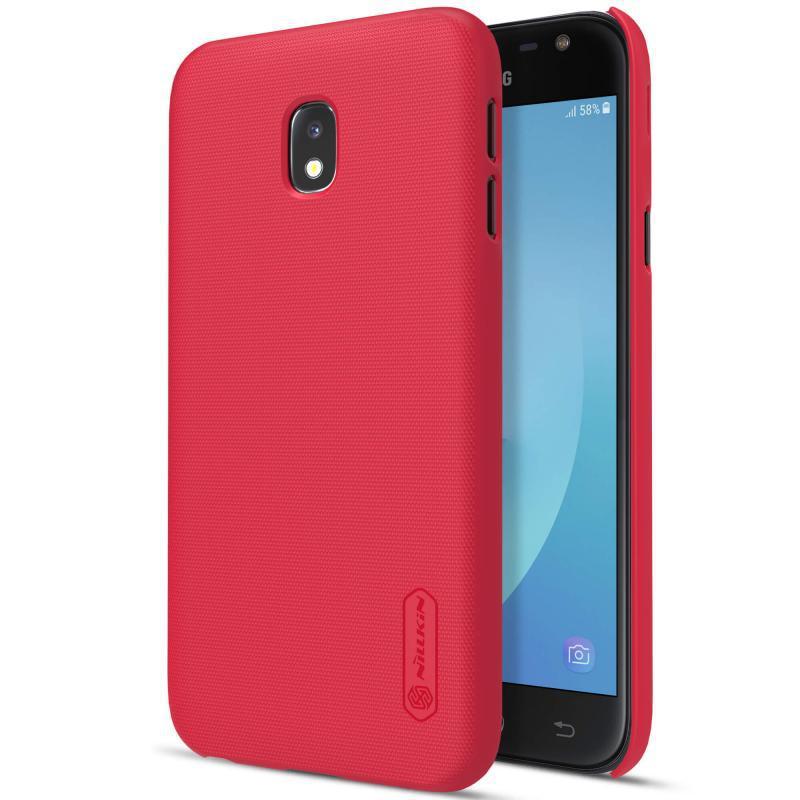 Чехол накладка Nillkin для Samsung J330F J3 (2017) Matte ser. + Пленка Красный (144842)