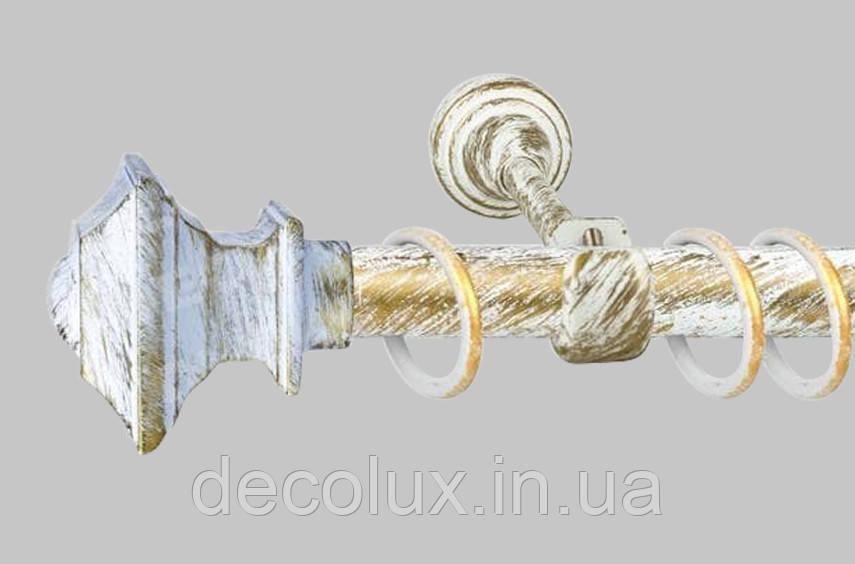 Карниз для штор однорядний металевий 25 мм, Борджеза Біле Золото