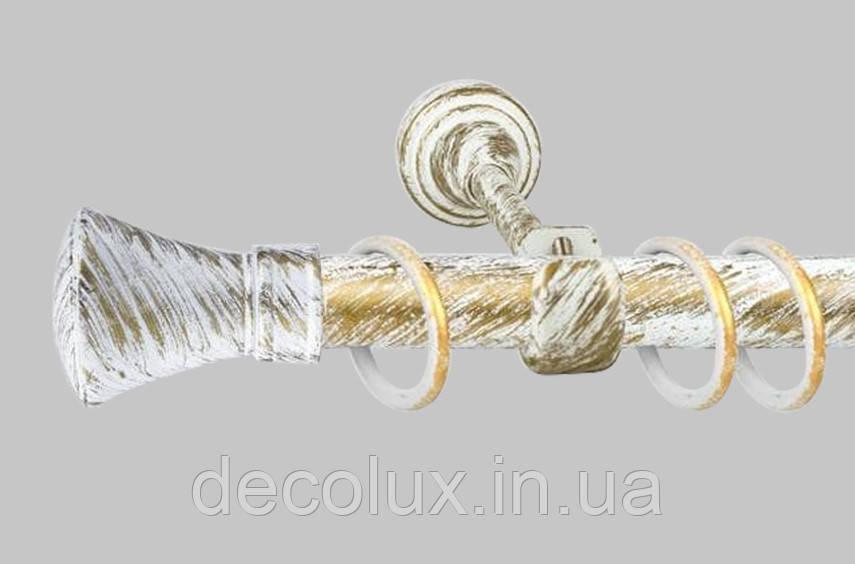 Карниз для штор однорядный металлический 25 мм, Люксор  (комплект) Белое Золото