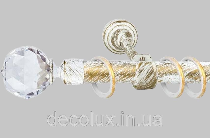 Карниз для штор однорядний металевий 25 мм, Куля Кристал Біле Золото