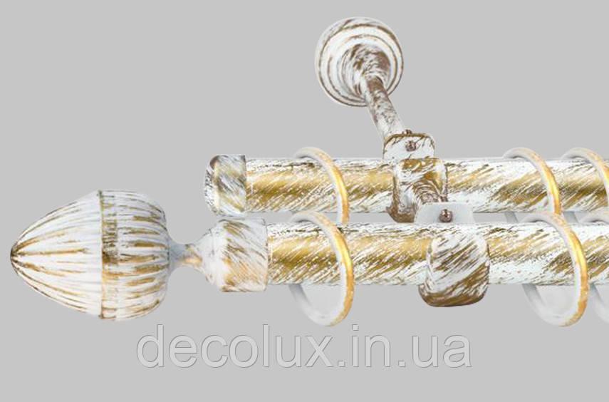 Карниз для штор дворядний металевий 25 мм, Одеон Біле Золото