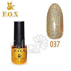 Гель-лак Fox №037, 6 мл (серебристый)