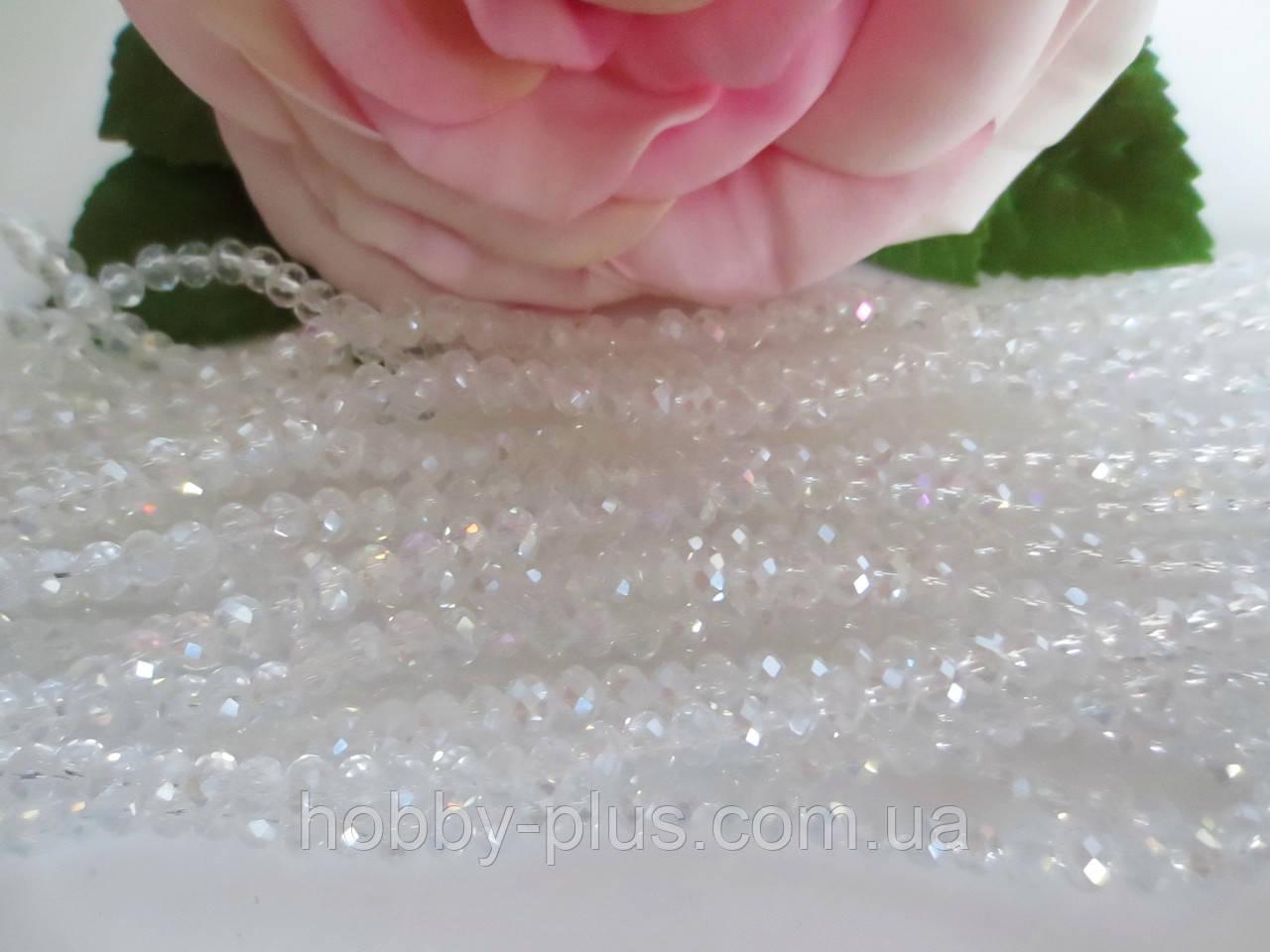 Бусины хрустальные 2х2 мм, 180-190 шт, цвет белый (прозрачный)