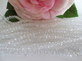 Бусины хрустальные 2х2 мм, 180-190 шт, цвет белый (прозрачный с АБ напылением)
