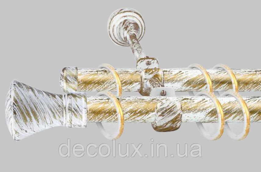 Карниз для штор дворядний металевий 25 мм, Люксор Біле Золото